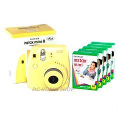 Fuji instax mini 8 yellow Fujifilm instant Polaroid camera + 50 film