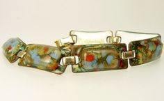 Mid Century Kay Denning Enamel On Copper Bracelet  Blue Red & Gold
