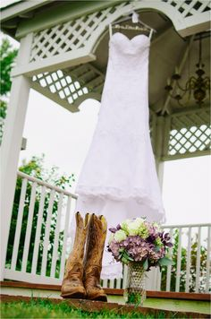 Bride Dress. Cowboy Boots. Bouquet.