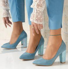 Pantofi Dama cu Toc Katherine Albastri Pumps, Heels, Fashion, Heel, Moda, Fashion Styles, Pumps Heels, Pump Shoes, High Heel