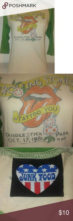 Vintage style ROLLING STONES 3/4 length T-shirt Awesome vintage style 3/4 length sleeve t shirt ROLLING STONES tattoo you Candlestick Park october 17, 1971.     Cotton/preshrunk Junk Food Clothing Tops Tees - Short Sleeve
