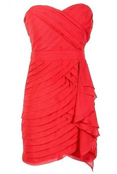 Tiered Strapless Chiffon Designer Dress by Minuet in Festive Red