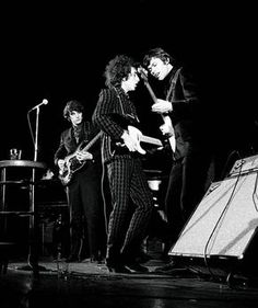 """""""Houndstooth Bob"""" Dylan, 1966, with Rick Danko (l) and Robbie Robertson ®, by Jan Persson"""