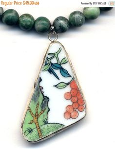 SALE 15% off Ching Hai Jade Necklace with large by Annaart72