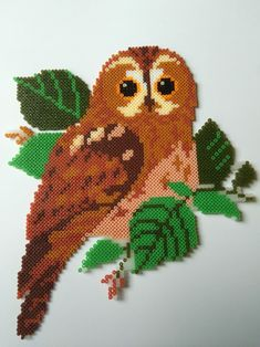 Pony Bead Patterns, Pearler Bead Patterns, Owl Patterns, Perler Patterns, Beading Patterns, Perler Bead Designs, Hama Beads Design, Perler Beads, Perler Bead Art