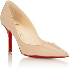 Christian Louboutin Apostrophy Pumps ($675) ❤ liked on Polyvore featuring shoes, pumps, christian louboutin, stiletto high heel shoes, christian louboutin shoes, slipon shoes and red sole pumps