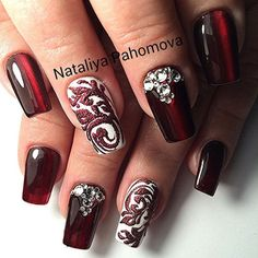 Drawings on nails, Evening nails, Long nails, Luxury nails, Nails ideas 2016, Nails with stones, Rich nails, ring finger nails