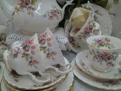 roses tea set | Royal Albert Moss Rose Tea Set England