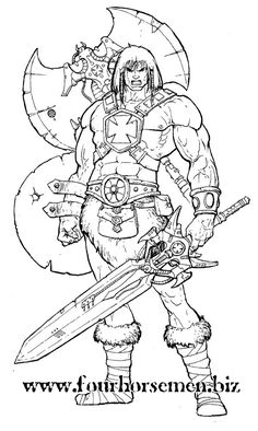 He-Man - Art by Four Horsemen toy-studio He Man Thundercats, Gi Joe, Character Art, Character Design, Drawing Superheroes, Male Figure Drawing, Colouring Pages, Colorful Pictures, Adult Coloring