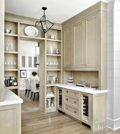 Contemporary Neutral Pantry with Calacatta Marble Counters