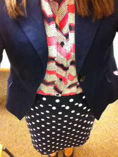 LOVE this outfit! Want to copy it! [Simply Sarah: Mixing Print & Polka Dots]