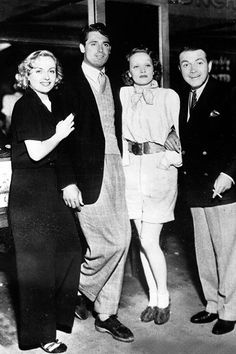 Carole Lombard, Cary Grant, Marlene Dietrich and Richard Bartholomew at Carole Lombard's party, circa 1930s.