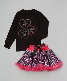 Black & Pink Candy Hearts Tee & Petticoat - Toddler & Girls by Beary Basics #zulily #zulilyfinds