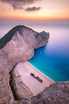 Buy Landscape view of famous Shipwreck (Navagio) beach on Zakynthos by on PhotoDune. Landscape view of famous Shipwreck (Navagio) beach on Zakynthos, Greece Greek Islands Vacation, Greece Vacation, Greece Travel, Vacation Resorts, Vacation Spots, Places In Europe, Places To Travel, Places To Go, Travel Destinations