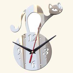 Wall clock Cat Design 3D mirror