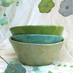 chartreuse, surf, and baby grass -- fruit bowls, $45