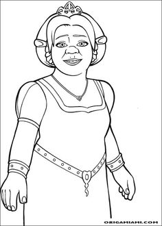 Disney Coloring Pages, Free Coloring Pages, Coloring Sheets, Coloring Books, Cartoon Pics, Cartoon Drawings, Cartoon Characters, Shrek Drawing, Fiona Shrek