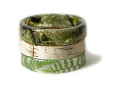 Natural elements stacked bracelets in resin: moss, fern and silver birch.
