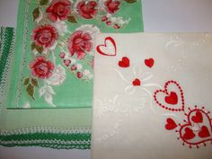 Women's Handkerchiefs -Three 40s-50s - Priority shipping included by JMadisons on Etsy