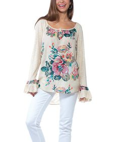 Look at this #zulilyfind! Beige Floral Tunic #zulilyfinds
