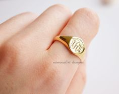 Sterling Silver Gold Signet Ring gold by MinimalistDesigns on Etsy