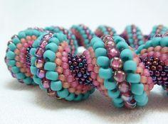 Southwest Fiesta Cellini Spiral Beadwoven Bangle Bracelet