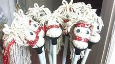 DIY stick horses made from dollar store mops for the ...