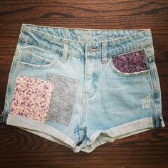 Custom Patches, Patched Jeans, Cute Jeans, Jean Shorts, Upcycle, Womens Fashion, Fashion Trends, Vintage Fashion, Gray