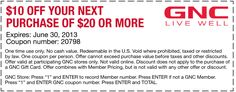 Pinned June 17th: $10 off $20 at GNC nutritional coupon via The Coupons App