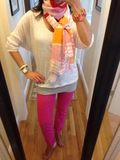 OOTD...CAbi Spring '14 Waverly Tee, Every Day Scarf, Limited Addition Tucked Tunic and Spring '11 Bardot Jean www.nancydowning-schloss.cabionline.com  I love how CAbi is so on trend...or ahead of the curve!!!  CAbj has been selling colored denim for years.  It's sad that some companies are just catching on now.  Do you have any colored denim?  If not, you should!!