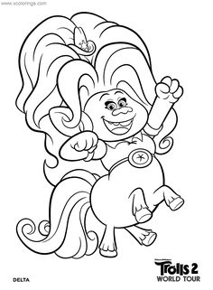 Delta from Trolls World Tour Coloring Pages. Monster Coloring Pages, Free Coloring Pages, Coloring Sheets, Coloring Books, Trolls Birthday Party, 5th Birthday, Poppy Coloring Page, Cartoon Shows, Baby Quilts