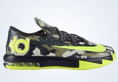 Available exclusively in youth sizes, Nike Basketball has hooked up a camo adorned colorway of the KD VI. The camo is presented in shades of green mixed wi Nike Tights, Nike Boots, Air Jordan Retro, Nike Outlet, Nike Kd Vi, Nike Air Max, Kd Shoes, Sock Shoes, Nike Shoes Cheap