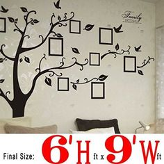 Dagou Huge 6' Ft(h) X 9' Ft(w), Memory Family Tree Photo 1set DIY Flower & Love World Large Art Decor Home Stickers Removable Vinyl Wall Decals for Living Room