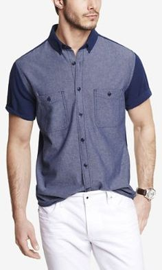 FITTED SHORT SLEEVE COLOR BLOCK SHIRT from EXPRESS