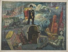 WPA School (20th Century)   Capo Auction   Lot 65   Surrealist Landscape. Oil on canvas. Canvas size 30 1/4 x 39 3/4 inches. Framed.