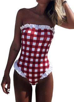 eb38cf75b6 Womens One Piece Swimsuits Off The Shoulder Plaid Ruffle Bathing Suit  Swimwear - Red - CC1800H7GME