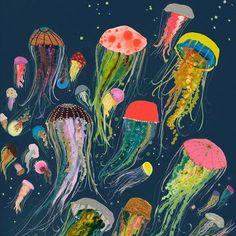 GreenBox Art + Culture GreenBox - Floating Jellyfish Indigo Canvas Wall Art, by Eli Halpin Jellyfish Drawing, Jellyfish Painting, Jellyfish Sting, Watercolor Jellyfish, Jellyfish Aquarium, Jellyfish Tattoo, How To Draw Jellyfish, Aquarium Fish, Art And Illustration