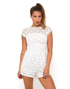 Motel Metro Cut Out Back Playsuit in White Lace