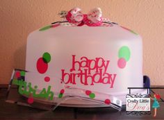 Pink & Green Happy Birthday Cake Carrier with by CraftyLittleDiva, $22.00