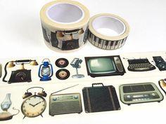 vintage stuff washi tape 7M x 3cm retro stuff TV radio vintage alarm clock music machine case classic home decor super wide tape sticker