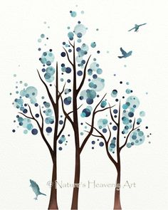 Watercolor Tree Art, Blue Wall Decor, Polka Dots, Modern Circle Art, Minimalist Art Print, Flying Birds 8 x 10 Print (112)