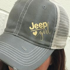 Jeep Girl Trucker Hat: Adjustable Back, Destroyed Style Olive Baseball Cap with gold design.   - 100% cotton, chino twill front  - 100% polyester, soft mesh back  - Structured, mid-profile, six-panel  - Pre-curved contrast stitch visor  - Contrast fabric stripes on side panels  - Plastic tab closure  See our collection of Jeep Girl Shirts: Jeep Girl: https://www.etsy.com/listing/285904107/jeep-girl-shirt-womens-oversized-v-neck?ref=shop_home_active_5  Titty Tosser…