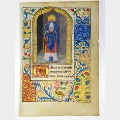 Original mittelalterliches Manuskriptblatt aus einem reich verzierten Stundenbuch, verschönert mit einer filigranen Miniaturmalerei in kräftigen Farben und Gold, sowie einer ausgefallenen Bordürenbemalung. Frankreich, vermutlich Rouen, ca. 1485.  ABMESSUNGEN: ca. H 12,2 cm x B 8,4 cm