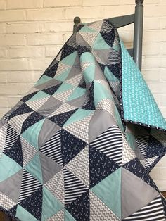 Nautical quilt baby boy girl triangle modern coastal under the sea blanket toddler aqua chevron gender neutral anchors stripes by LittleBeachcomber on Etsy
