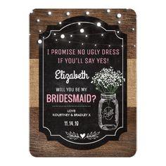 Country Bridesmaid Invitation Rustic Burlap Bridesmaid Wedding   Mason Jar Card