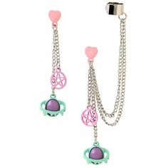 Pastel Pentagram Planets Drop Earring And Cuff Set Hot Topic ($4.87) ❤ liked on Polyvore featuring jewelry, earrings, long earrings, cuff jewelry, metal earrings, pastel jewelry and drop earrings