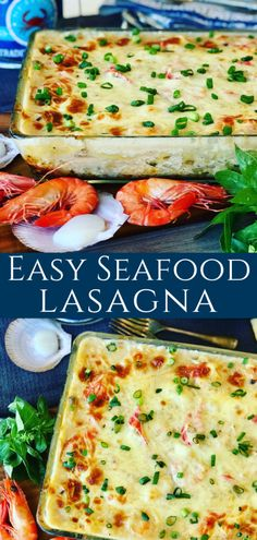 This Easy Seafood Lasagna is made with mushroom soup, white wine, shrimp, scallops and imitation crab. Rich and creamy family dinner favorite. Creamy Seafood Lasagna - Peter's Food Adventures Erika Navarrete misserikan Food This Easy Seafood Lasagn Seafood Lasagna Recipes, Seafood Casserole Recipes, Lobster Lasagna Recipe, Shellfish Recipes, Easy Cooking, Cooking Recipes, Healthy Recipes, Simple Shrimp Recipes, Shrimp And Scallop Recipes
