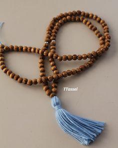 Sky Blue Yoga Necklace Mala Yoga Tassel Necklace Wooden Bead Necklace Beads Yoga Beads Necklace