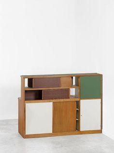 Charlotte Perriand and Le Corbusier; Wood Veneer, Lacquered Wood, Linoleum and Ceramic Tile Room Divider from Cité Radieuse Dormitory, 1949.