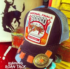 Ball Cap with Vintage NFR Rodeo Patch, Leather Lacing and Native Concho by Running Roan Tack